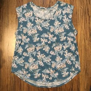 Loft Blue and White Floral Short Sleeve | XL